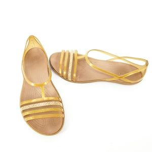 Crocs Isabella Gold Jelly T-Strap Iconic Sandals